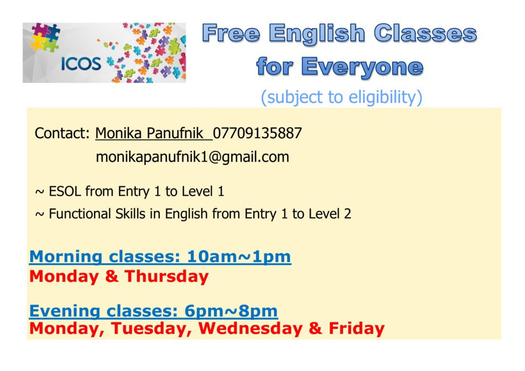 (Postponed) Free Evening English Classes @ ICOS ......... ( Top Floor ) | England | United Kingdom