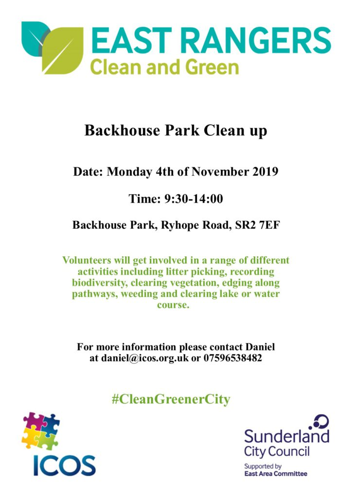 Backhouse Park Clean Up on 4th November @ Backhouse Park