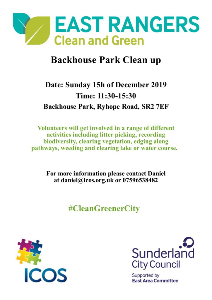 Backhouse Park Clean Up on Sunday 15th December starts 11.30am @ BACKHOUSE PARK
