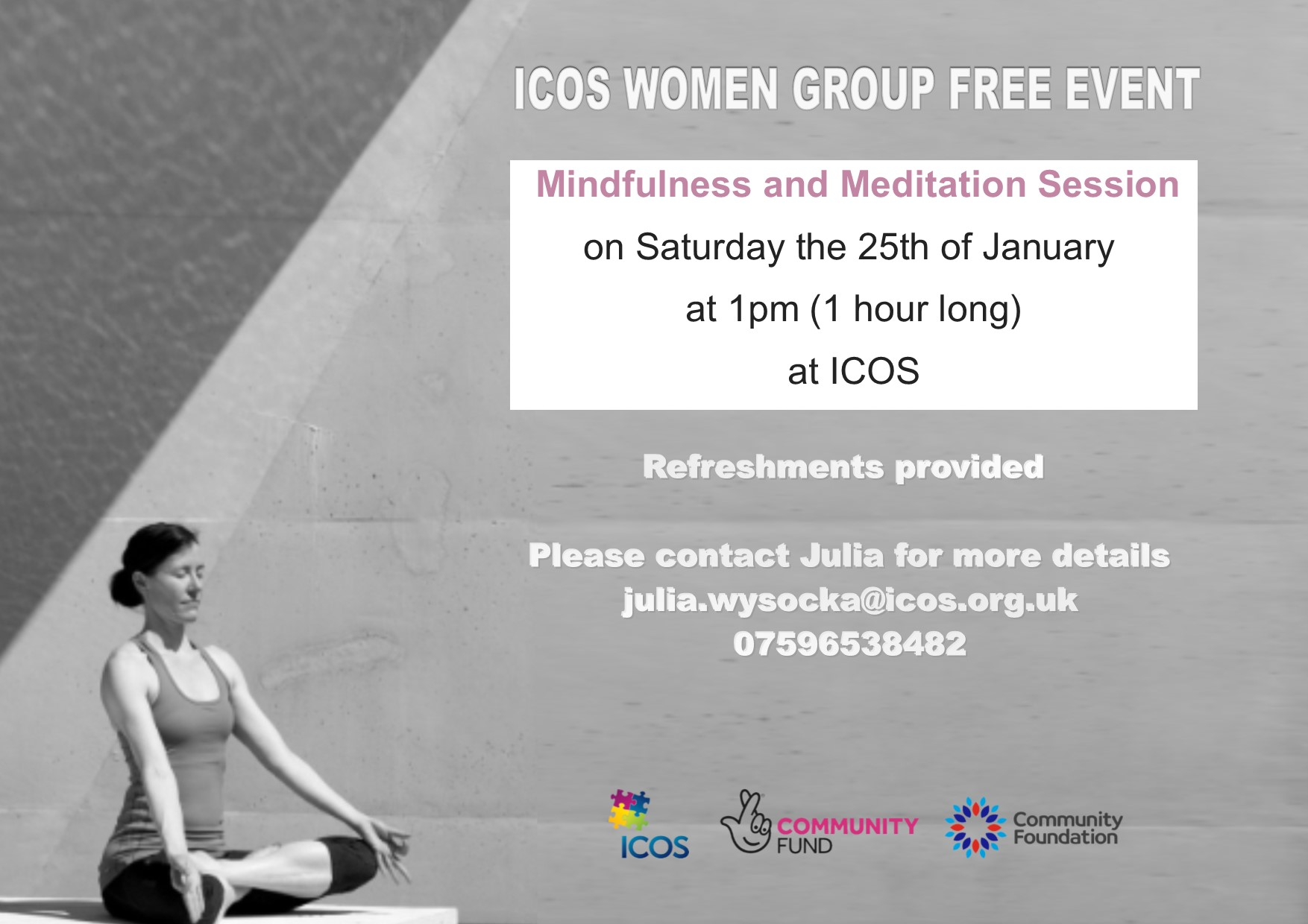 ICOS Women Group Free Mindfulness and Meditation Session @ ICOS ( Top Floor )