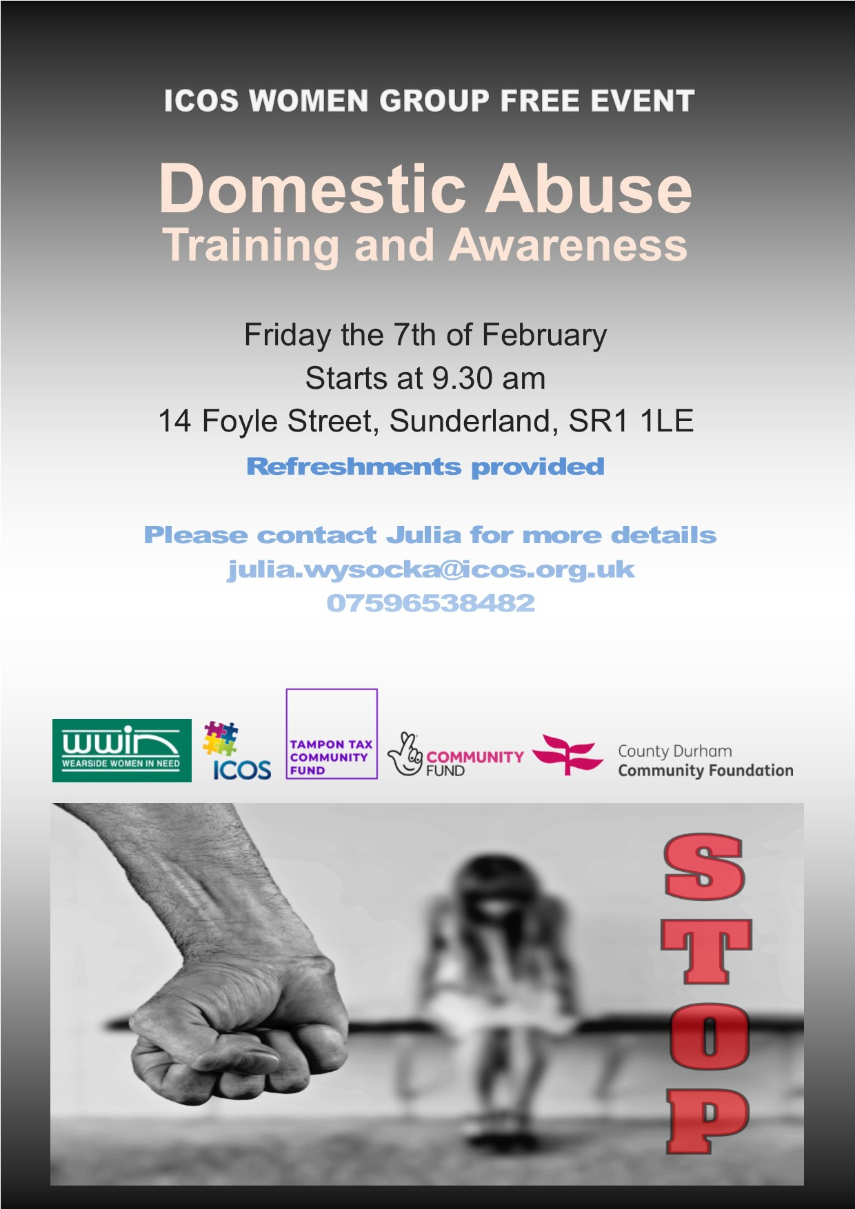 Free Domestic Abuse Training and Awareness (Women only) @ ICOS ( Top Floor )